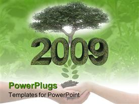 Green year 2009 with tree environmental theme on white background presentation background