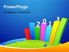 PowerPoint template displaying bar graph showing business growth for year 2013