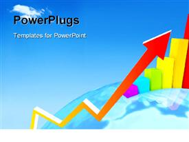 PowerPoint template displaying colorful growth graph with bar charts on earth globe