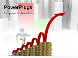 PowerPoint template displaying diagram of growth. 3D depiction