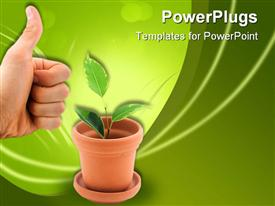 PowerPoint template displaying hand with thumbs up at clay vase with green plant sprouting