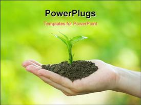 PowerPoint template displaying hand holding handful of soil with young seedling on out of focus greenery background