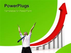 PowerPoint template displaying happy businessman with red arrow over increasing growth chart