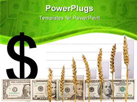 PowerPoint template displaying look at grain of dollars and chart in the background.