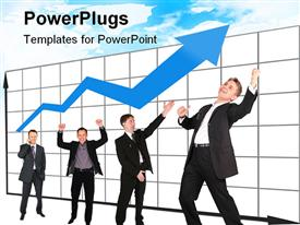 PowerPoint template displaying a number of professionals enjoying the growth of business