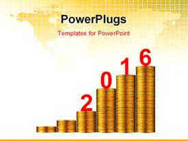 PowerPoint template displaying gold business graph with gold arrow up represents the growth in 2016 year