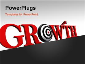 PowerPoint template displaying arrow hitting target of O in Growth