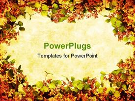PowerPoint template displaying floral wreath forms a grunge border