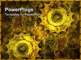 PowerPoint template displaying two old grunge gears in abstract background