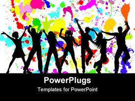 PowerPoint template displaying silhouettes of dancing party goers, white background splattered with bright colors