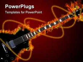 PowerPoint template displaying black electric guitar is burning in the background.