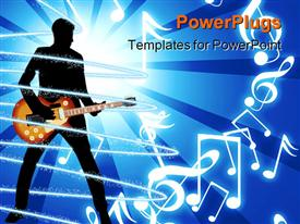 PowerPoint template displaying depiction of human figure playing a guitar on a blue background