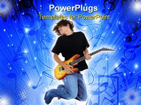 PowerPoint template displaying boy Jumping With Electric Guitar. Motion blur in head and upper body in the background.