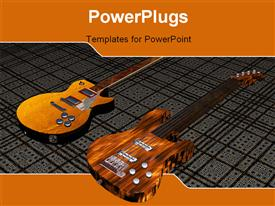 PowerPoint template displaying cool 3D guitar on black white stripes in the background.