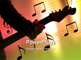 PowerPoint template displaying a man holding a guitar with lots of musical notes