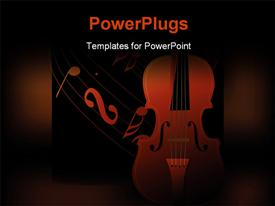 PowerPoint template displaying a violin with a lot of music signs in background
