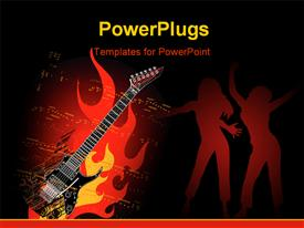 PowerPoint template displaying music instrument with artistic background and music notes