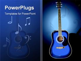 PowerPoint template displaying vector of a blue acoustic guitar on a dark faded background