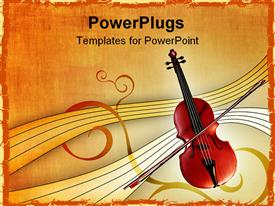 PowerPoint template displaying violin over empty blank musical sheets over orange stylized retro background