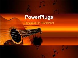 PowerPoint template displaying guitar at sunset with tropical tree in the background, musical notes on music sheets, orange and red background
