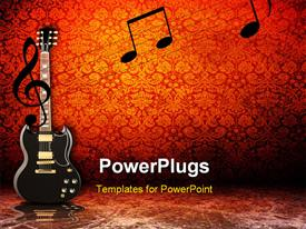 PowerPoint template displaying electric guitar and music notes on red vintage background