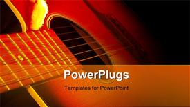PowerPoint template displaying strings of guitar lying side ways in the dark
