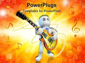 PowerPoint template displaying musician is playing an electric guitar in the background.