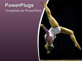 Gymnast somersaults on beam powerpoint design layout