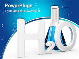 PowerPoint template displaying h2O Water symbol with test tube on a white background