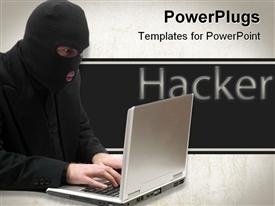 PowerPoint template displaying business hacker is breaking into a laptop computer and stealing information