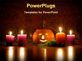 PowerPoint template displaying lit ceramic pumpkin surrounded by orange and purple votive candles