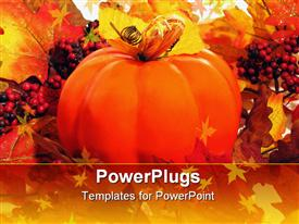PowerPoint template displaying a large orange colored pumpkin and lots of small red berries