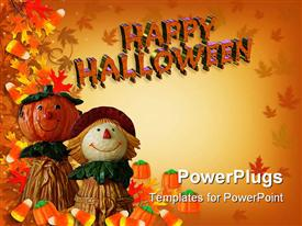 PowerPoint template displaying composition Halloween border, Fall background, Autumn template