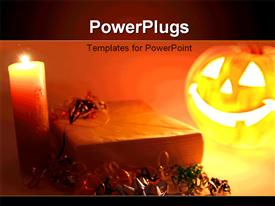 PowerPoint template displaying a halloween pumpkin with a candle and reddish background