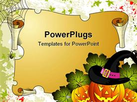 PowerPoint template displaying curved pumpkins wearing wizard hat next to old scroll with spider and web