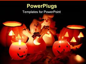 Halloween candle-light with leaves  - scary powerpoint slides