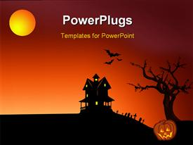 PowerPoint template displaying halloween depictions with haunted house bats, graveyard and pumpkin