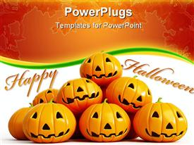PowerPoint template displaying halloween theme with happy halloween message and halloween pumpkin faces