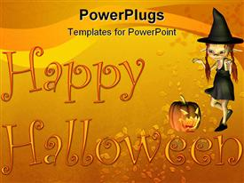 PowerPoint template displaying a Halloween witch with a text that spell out the word