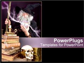 Mysterious wizard stands with his lightening globe template for powerpoint