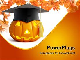 PowerPoint template displaying pumpkin Halloween graduation cap on a white background