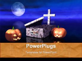 PowerPoint template displaying pumpkins and empty grave during the Halloween's night