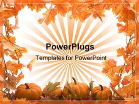PowerPoint template displaying pumpkins with fall leaves frame