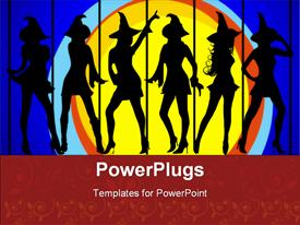 PowerPoint template displaying six sexy witches dancing in the moonlight on blue background with scroll border