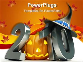 PowerPoint template displaying 2010 with metallic gray numbers and Halloween Jack o' lantern instead of first zero ten with witch's hat