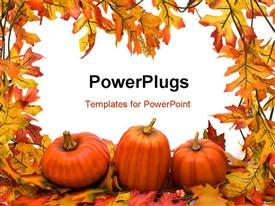 PowerPoint template displaying halloween background with autumn fall leaves and pumpkins