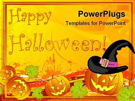 PowerPoint template displaying a number of Halloween pumpkin figures and celebration stuff