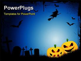 PowerPoint template displaying spooky Halloween background with spooky jack o lanterns in a graveyard with a witch flying on a broom