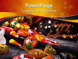 PowerPoint template displaying scatter Halloween candies over Wizard hat, Halloween theme