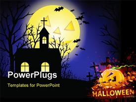 Halloween grunge background with grass bat and hunting house powerpoint design layout